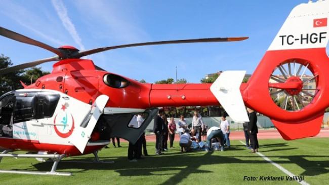 Helikopter ambulans Poyralı Köylüsü için havalandı